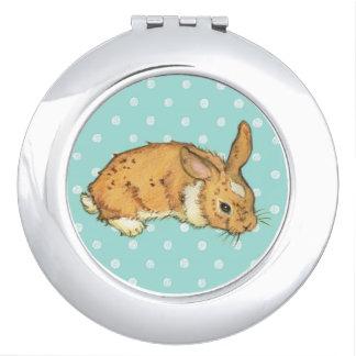 Aqua Blue Polka Dot Bunny Compact Mirror