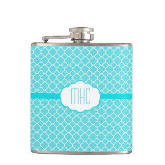 Aqua Blue Quatrefoil-Monogram Hip Flasks