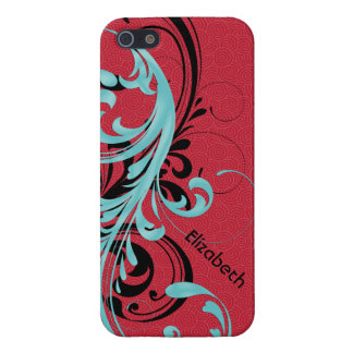Aqua Blue, Red, Black Wavy Scroll Floral iPhone 5 Case