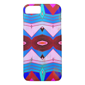 Aqua Blue & Reds Vintage Style Geometric Pattern iPhone 8/7 Case