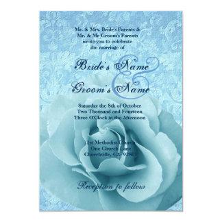 Aqua Blue Rose and Damask Wedding Card