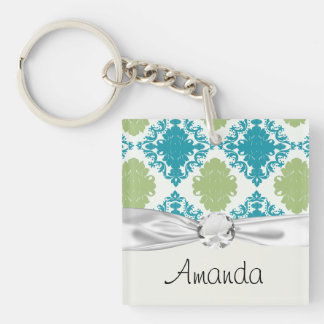 aqua blue sage green white diamond damask Double-Sided square acrylic key ring