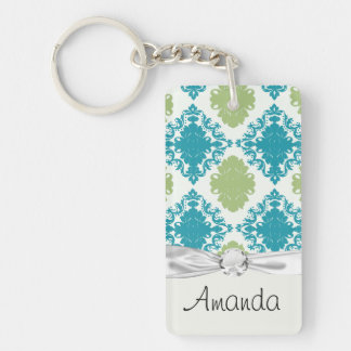 aqua blue sage green white diamond damask Single-Sided rectangular acrylic key ring