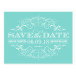 Aqua Blue Save the Date   Swirl and Flourish Post Cards