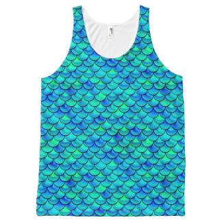 Aqua Blue Scales All-Over Print Singlet