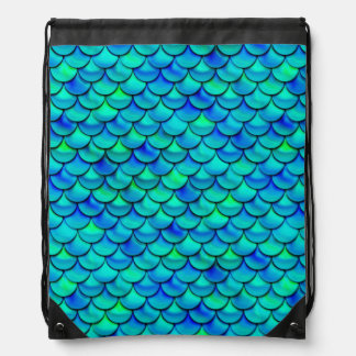Aqua Blue Scales Drawstring Bag