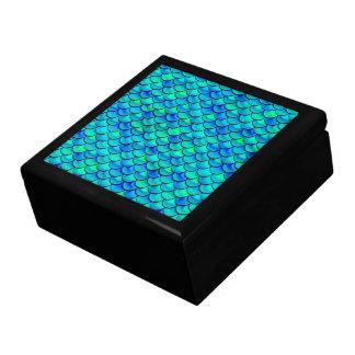 Aqua Blue Scales Large Square Gift Box