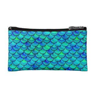 Aqua Blue Scales Makeup Bag