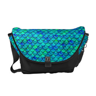 Aqua Blue Scales Messenger Bag