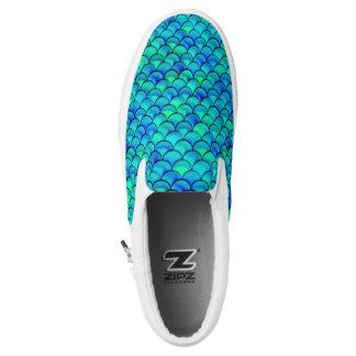 Aqua Blue Scales Slip-On Shoes