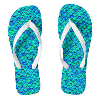 Aqua Blue Scales Thongs