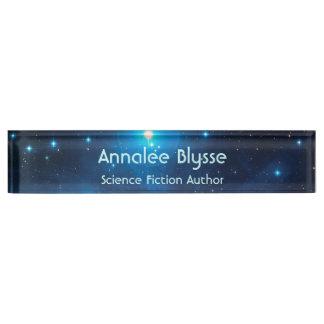 Aqua Blue Science Fiction Author Nameplate