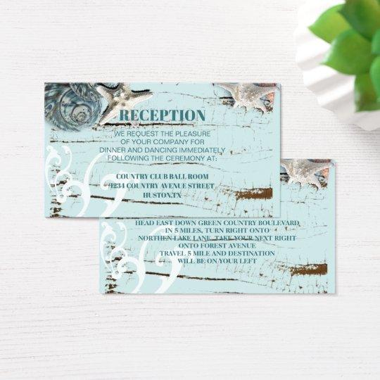 aqua blue seashell beach wedding detail business card