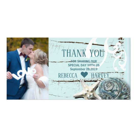 aqua blue seashell beach wedding thank you card