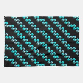 Aqua Blue Sequin Stripes On Black Tea Towel