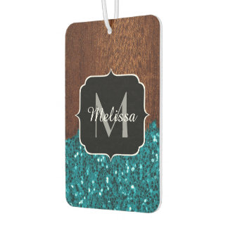 Aqua blue sparkles rustic brown wood Monogram Car Air Freshener