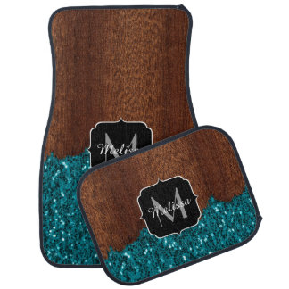 Aqua blue sparkles rustic brown wood Monogram Car Mat