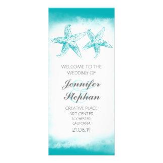 aqua blue starfish couple beach wedding programs personalised rack card
