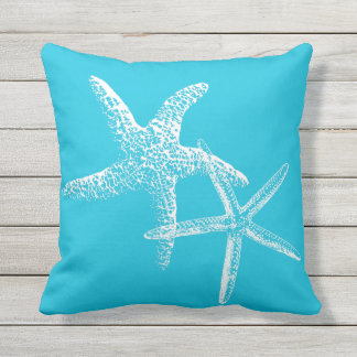 Aqua Blue Starfish Couple Sofa Pillow
