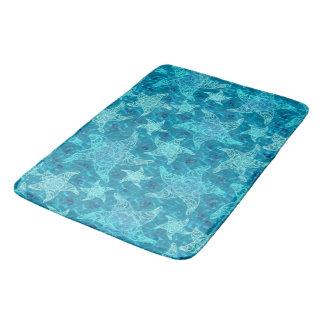 Aqua Blue Starfish Pattern Bath Mat