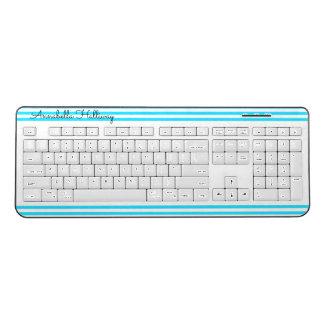 Aqua Blue Striped Name Keyboard