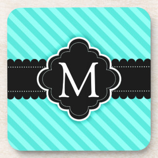 Aqua Blue Stripes Pattern Black Custom Monogram Beverage Coasters