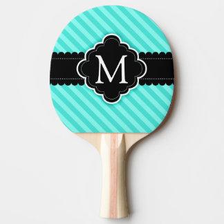 Aqua Blue Stripes Pattern Black Custom Monogram Ping Pong Paddle