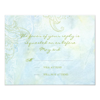 Aqua Blue Sunflower Floral Swirl Modern Wedding Card