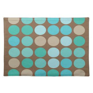 Aqua Blue Teal & Brown Dots Modern Pattern Place Mat
