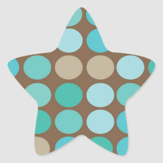 Aqua Blue Teal & Brown Dots Pattern Modern Star Sticker