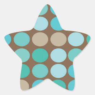 Aqua Blue Teal & Brown Dots Pattern Modern Star Stickers
