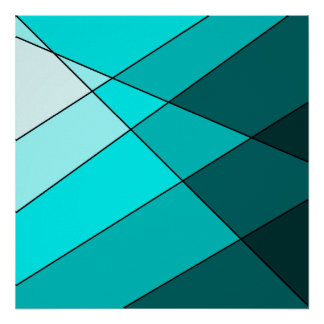 Aqua blue teal decorative poster