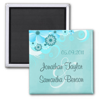 Aqua Blue Teal Floral Save The Date Fridge Magnets