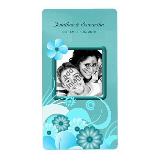 Aqua Blue Teal Floral Wedding Photo Favour Wine Shipping Label