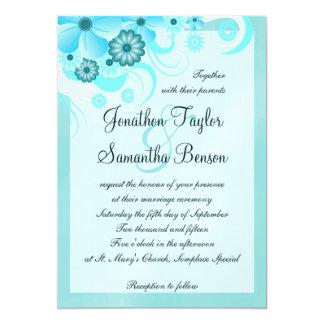 Aqua Blue Teal Hibiscus Floral Wedding 13 Cm X 18 Cm Invitation Card