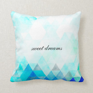 Aqua Blue Triangles Watercolor Throw Cushions