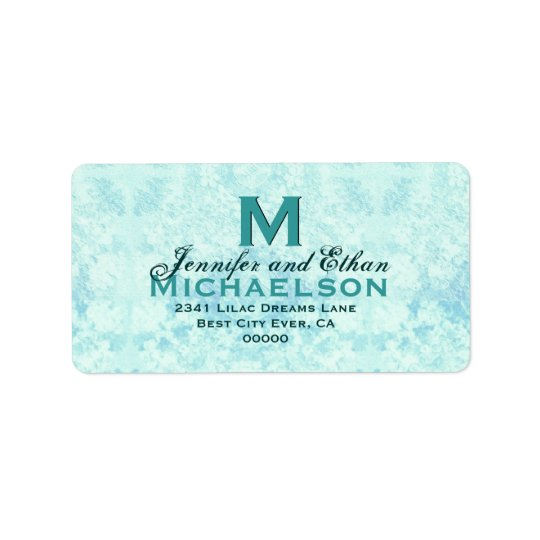 Aqua Blue Vintage Wedding Monogram Personalised Address Label