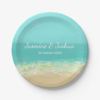 Aqua blue water/painted beach seashore paper plate