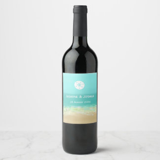 Aqua blue water/painted beach seashore personalize wine label