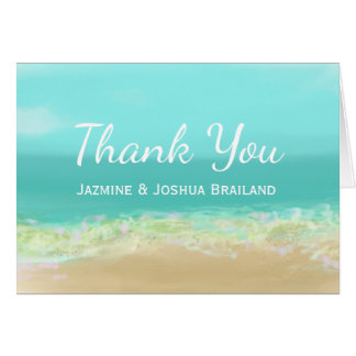 Aqua blue water/painted beach seashore thank you card