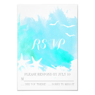 Aqua blue watercolor splash, starfish wedding RSVP Card