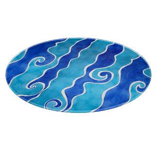 Aqua Blue Waves Cutting Board