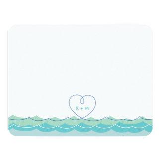 Aqua Blue Waves Loopy Heart Wedding Thank You Card 11 Cm X 14 Cm Invitation Card