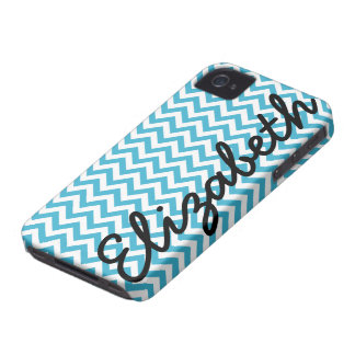 Aqua Blue White Chevron Pattern Case-Mate iPhone 4 Cases