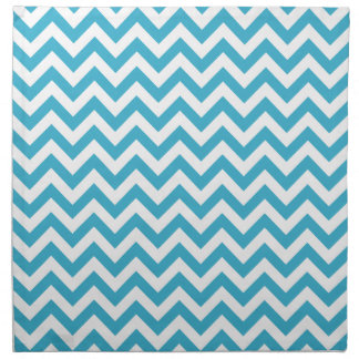 Aqua Blue White Chevron Pattern Cloth Napkins