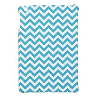 Aqua Blue White Chevron Pattern iPad Mini Covers