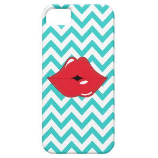 Aqua Blue White Chevron Red Lips iPhone 5/5S Case