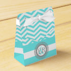Aqua blue, white chevron zigzag pattern wedding favour box