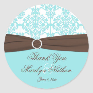 Aqua Blue, White Damask Wedding Favor Sticker