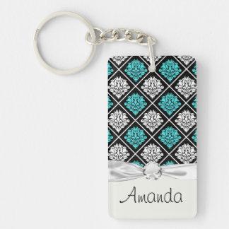 aqua blue white diamond damask pattern Single-Sided rectangular acrylic keychain